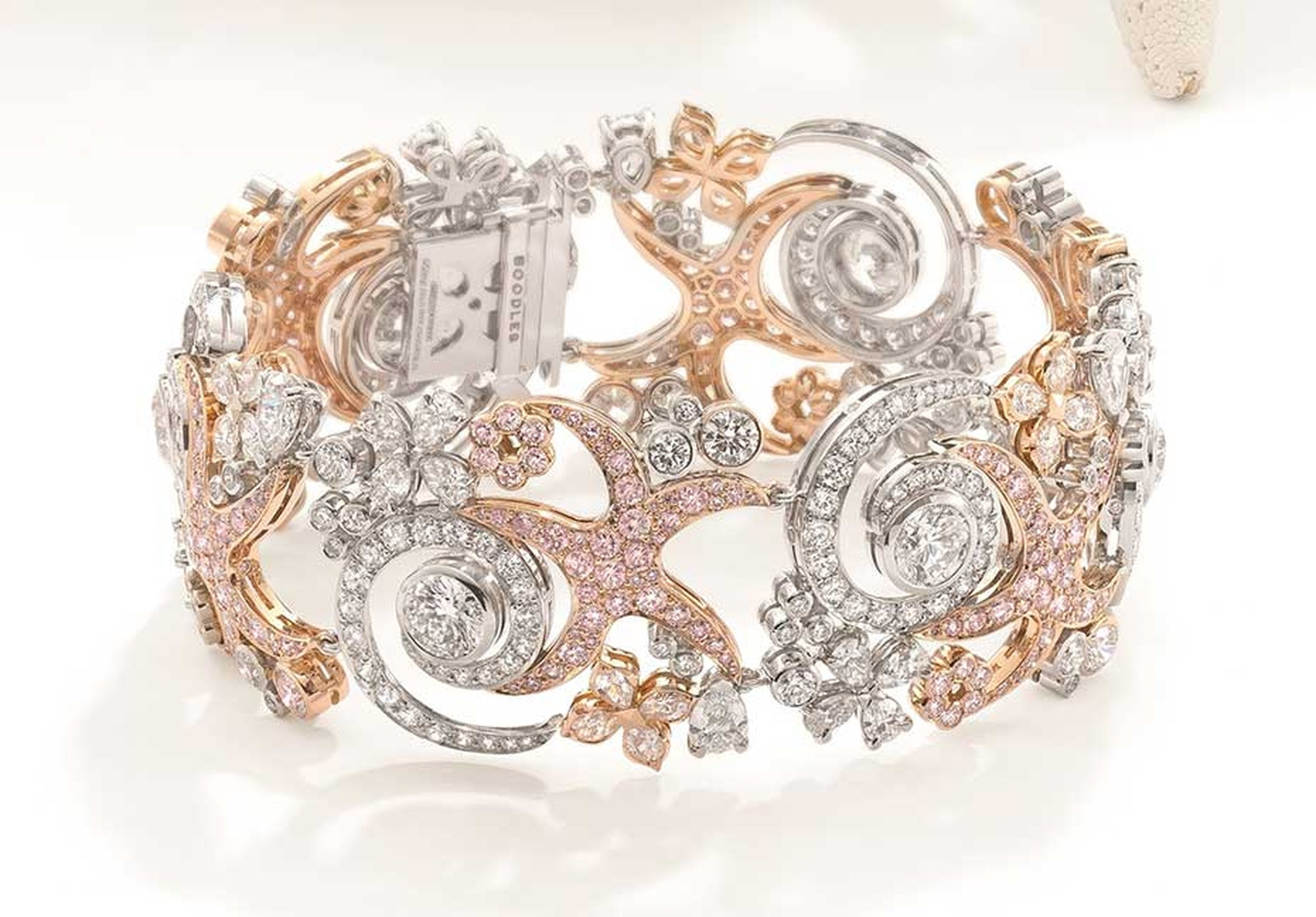 Boodles bracelet with white and pink diamonds, from the new Ocean of Dreams collection.