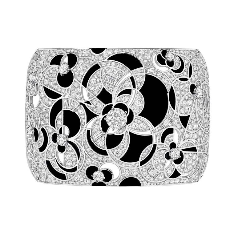 Chanel Midnight cuff bracelet featuring black onyx and diamonds.