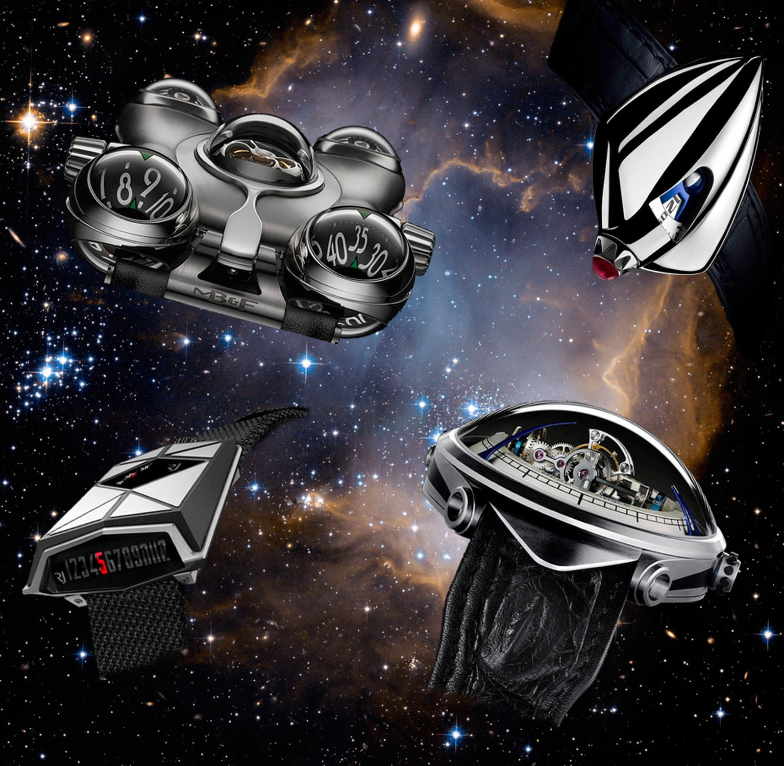 Fans of horology and science fiction can pursue both passions with these extraordinary vessels designed to navigate the far reaches of outer space. From left to right: MB&F HM6 Space Pirate, de Bethune Dream Watch 5, Vianney Halter Deep Space 9; Romain Je