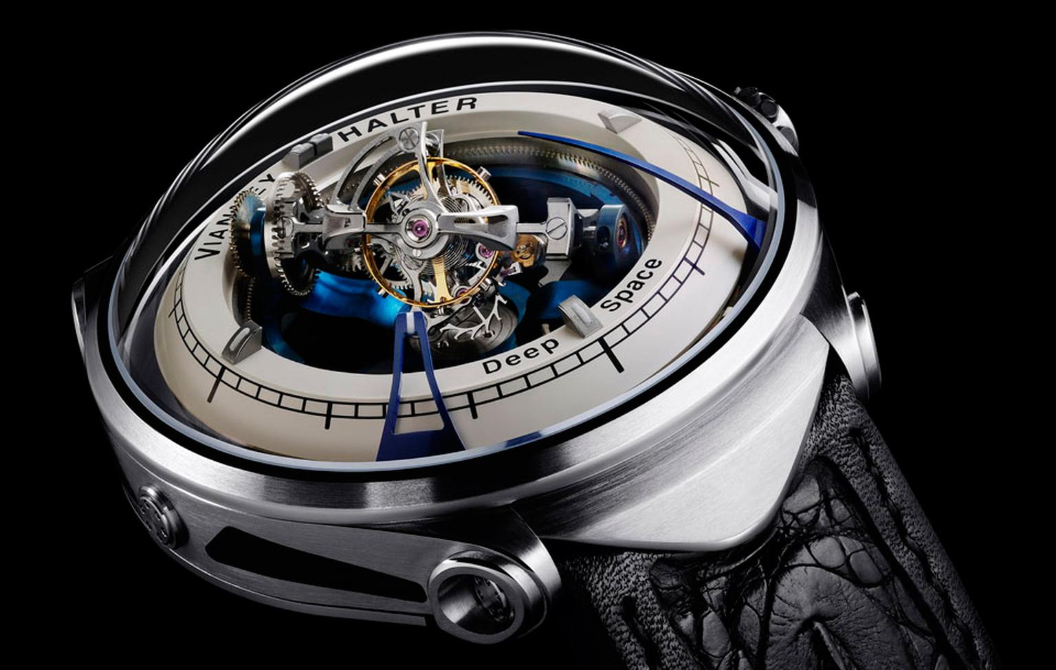 Vianney Halter Deep Space Tourbillon watch indicates the time with two blue curved nails: the longer nail indicated the minutes, the shorter one is for the hours.