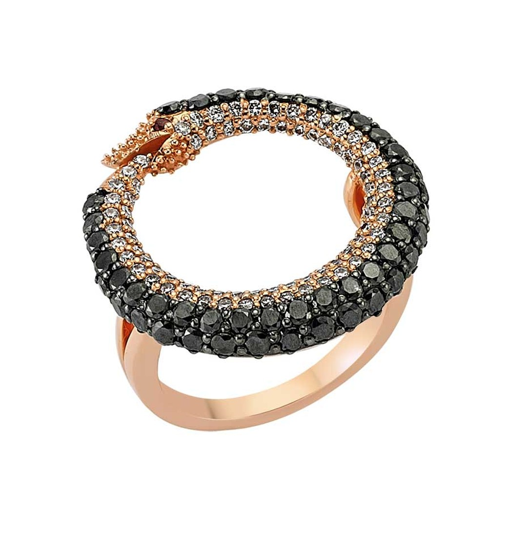 Bee Goddess Ouroboros snake ring in rose gold with black and white diamonds.