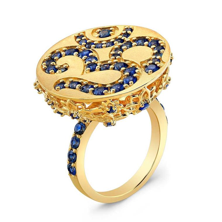 Buddha Mama Om gold ring with sapphires.