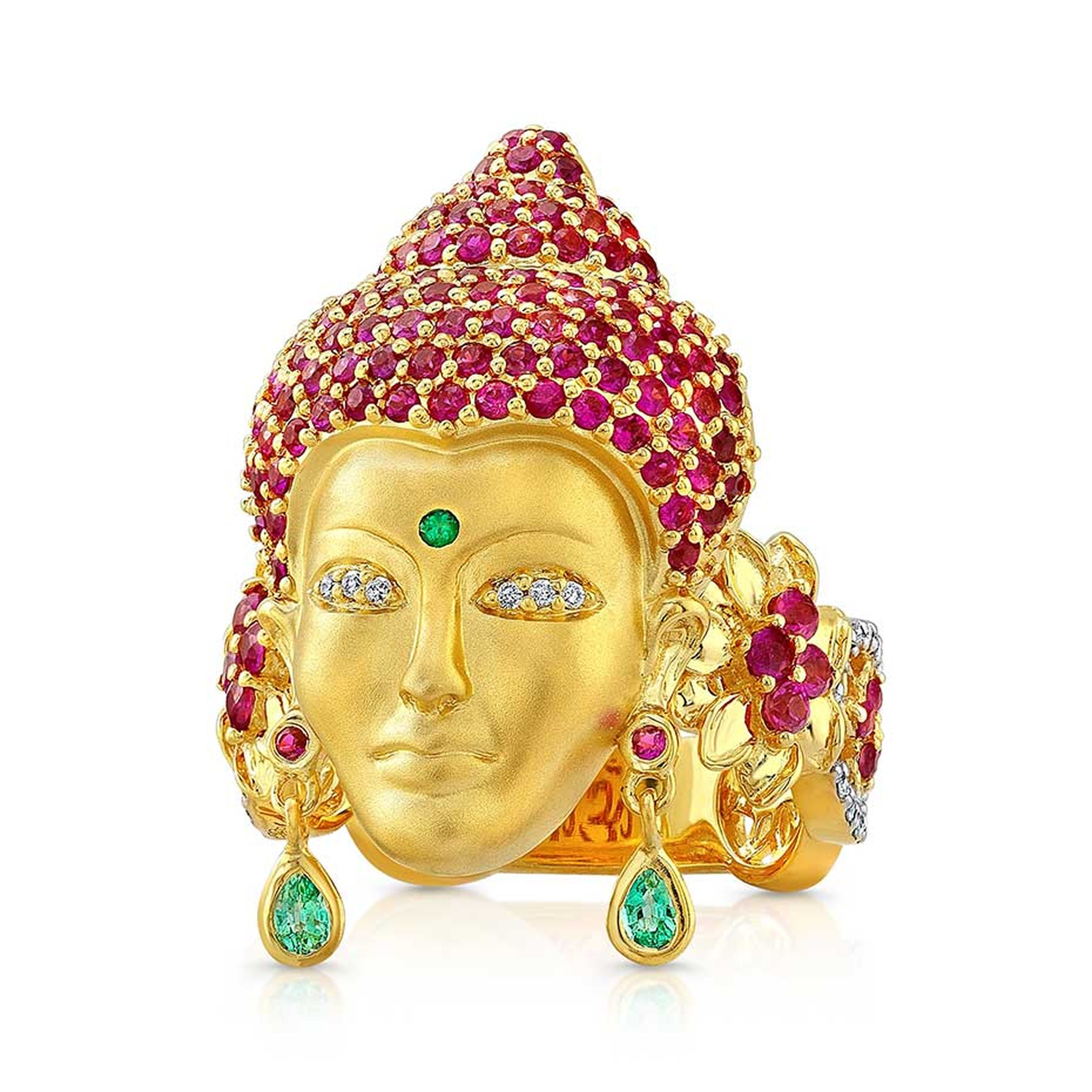 Buddha Mama gold ring with pink sapphires and emeralds.