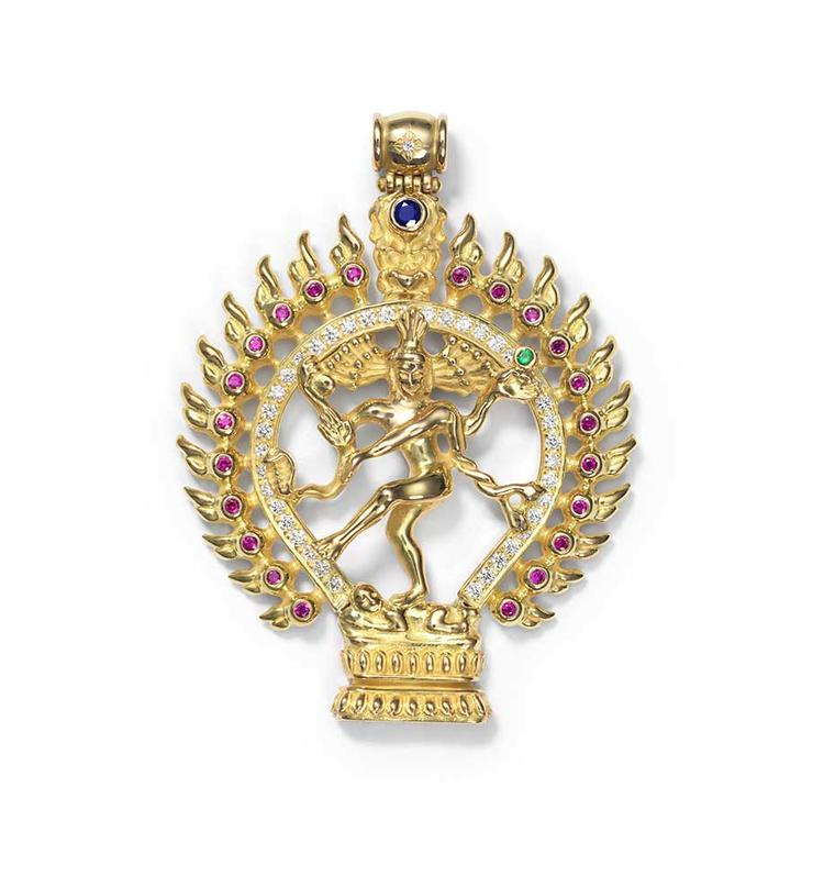 Shamballa Jewels XL Dancing Shiva pendant in yellow gold with rubies, emeralds, sapphires and white diamonds.
