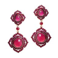 Vanessa Kandiyoti Chakra rose gold earrings with cabochon rubies and pavé rubies.