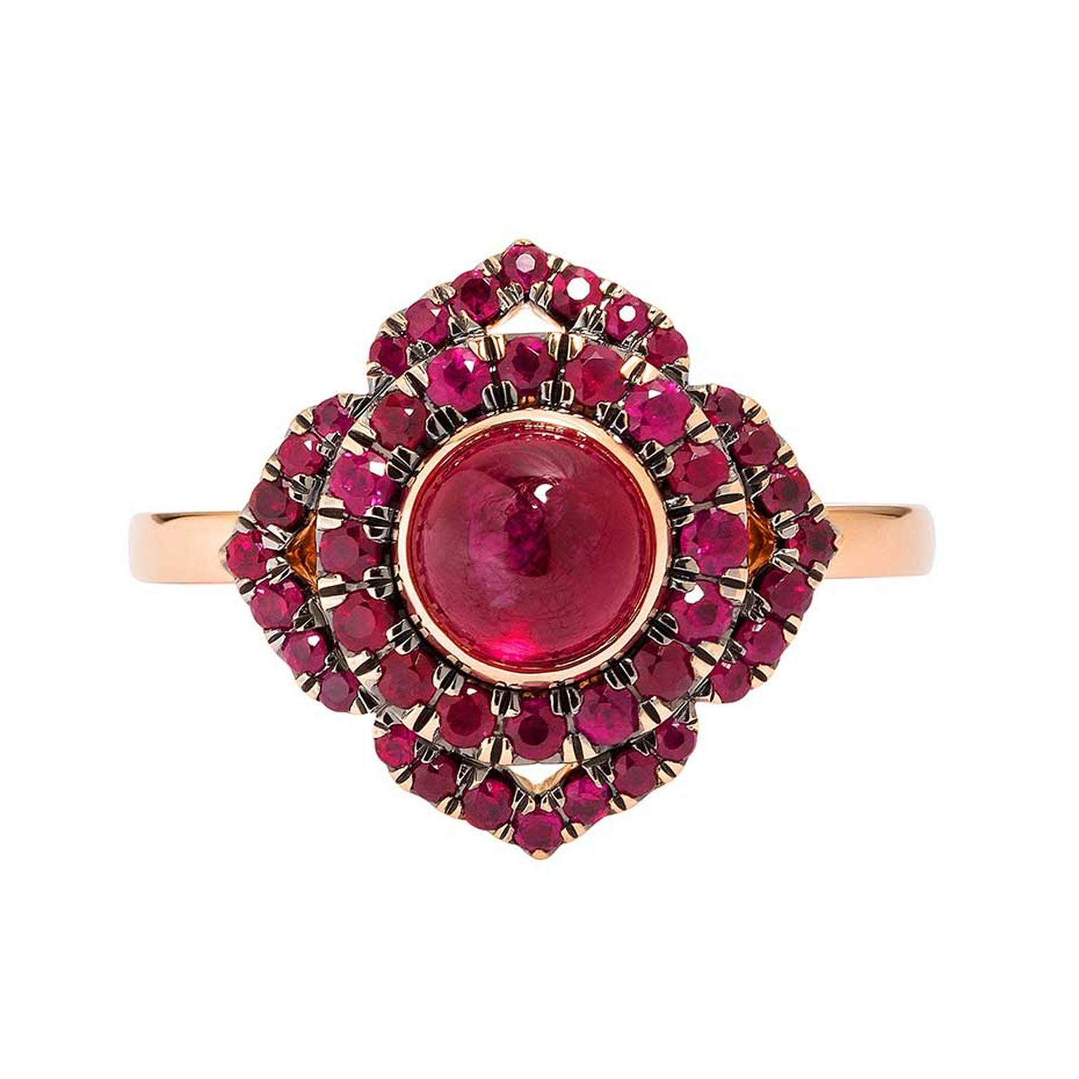 Vanessa Kandiyoti Chakra rose gold ring with a cabochon ruby and pavé rubies.