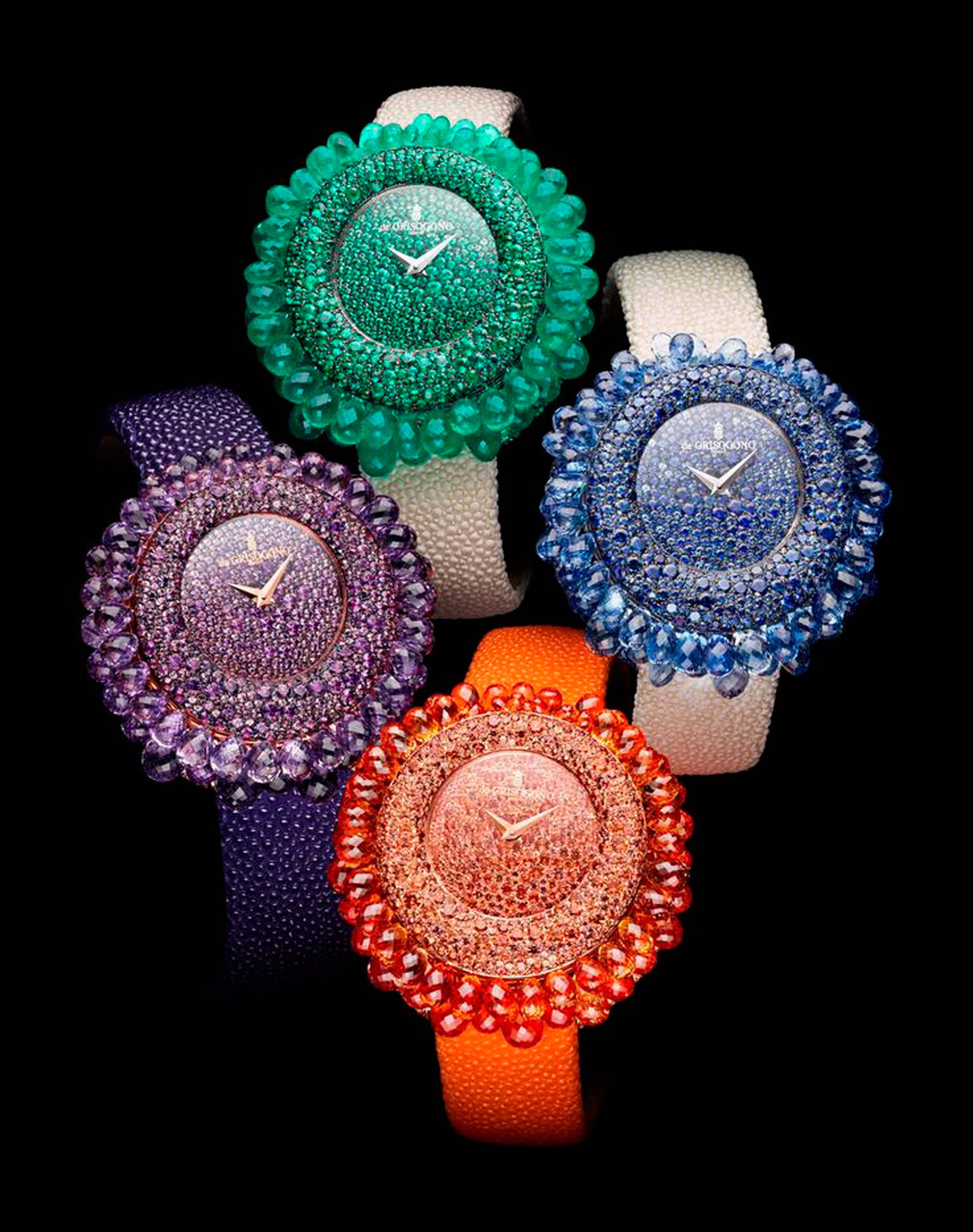 de GRISOGONO Grappoli collection featrues mouth-watering high jewellery watches. Like a sunflower bursting with colourful gemstones, the Grappoli model is the fruit of expert gem-setters and stone cutters patiently cutting and setting each and every one o