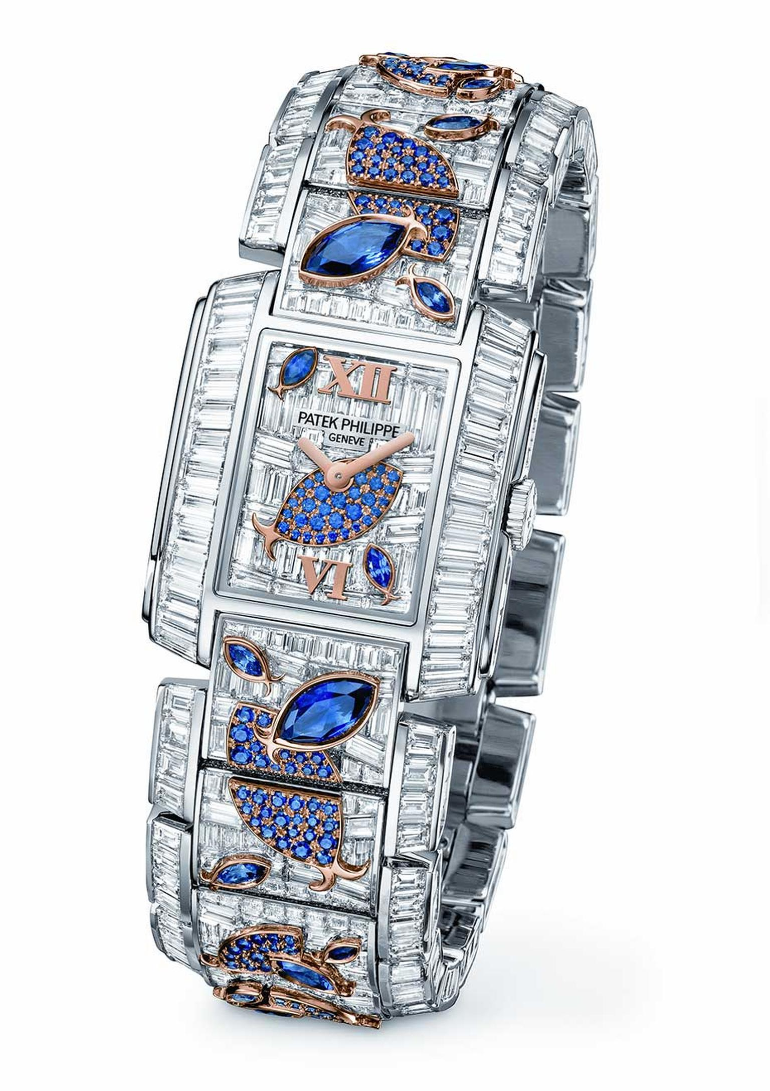 Patek Philippe Aquatic Life high jewellery watch is set with 1,937 diamonds and 43.74 carats of sapphires. This beautiful underwater scene comes to life with the different cuts of precious stones.