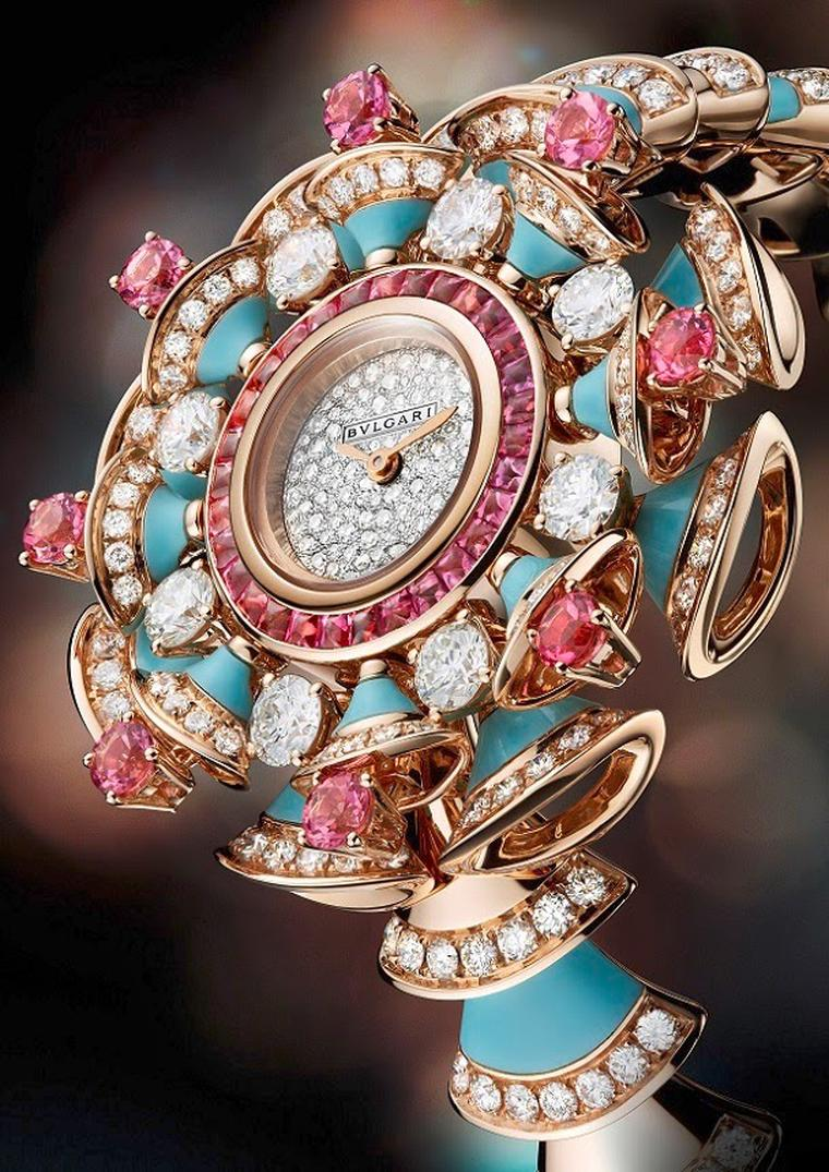 Bulgari Diva high jewellery pink gold watch swirls with brilliant-cut diamonds, pink tourmalines and turquoises and a diamond snow-set dial.