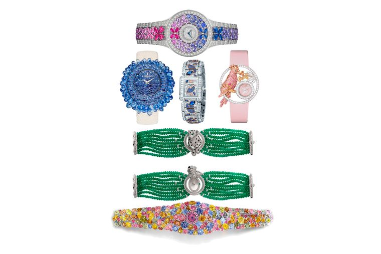 High jewellery watches marry the art of timekeeping with artistic gem-setting skills. Pictured from top to bottom: Graff Butterfly watch; de GRISOGONO Grappoli watch with blue sapphires; Patek Philippe Aquatic Life watch; Boucheron Ajourée Nuri watch; Car