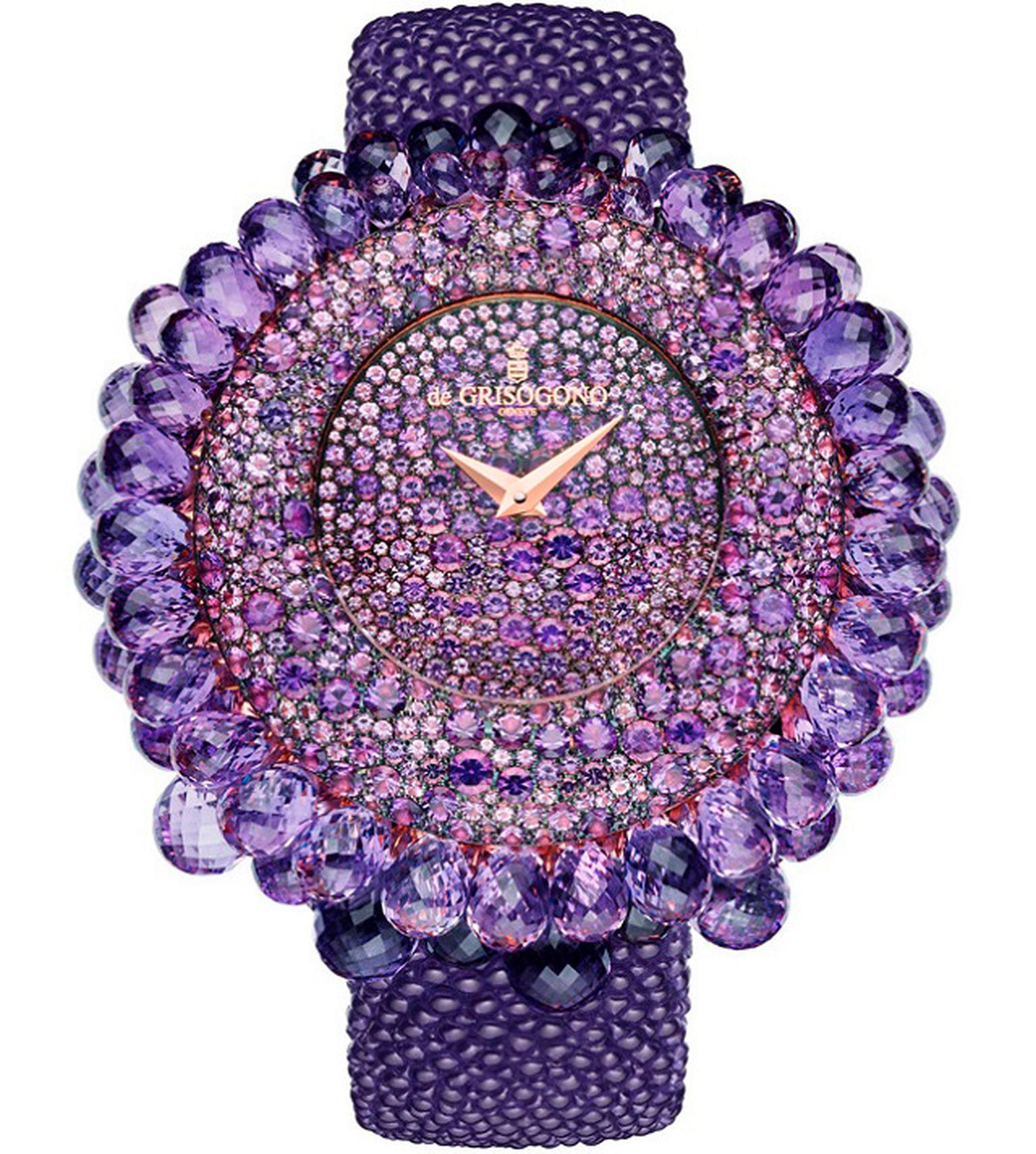 de GRISOGONO Grappoli high jewellery watch with snow-set amethysts on the dial and briolette-cut amethysts dangling from the bezel. Even the back of the pink gold case is set with stones and presented on a bubbly purple galuchat strap.