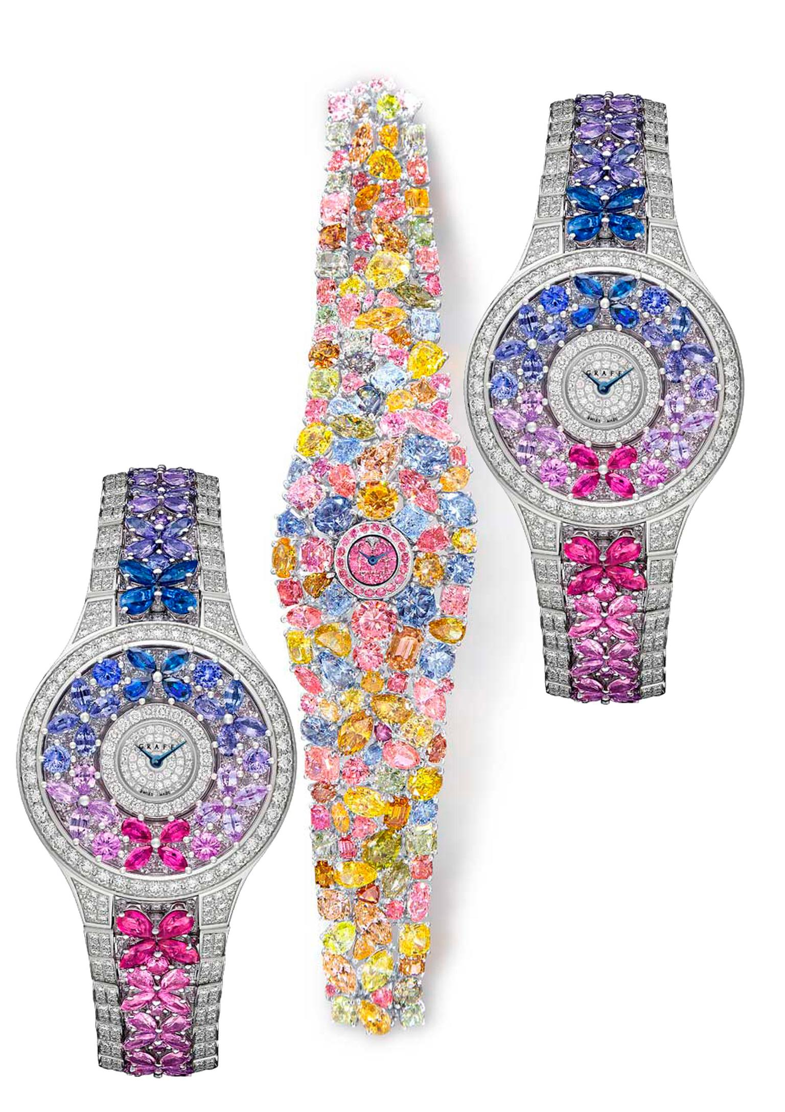 The Graff Hallucination is accompanied by the Butterfly watch which competed in the high jewellery category of the GPHG contest: set against a diamond background, each butterfly on the dial and bracelet is composed of four pear-shape gemstones sculpted fr