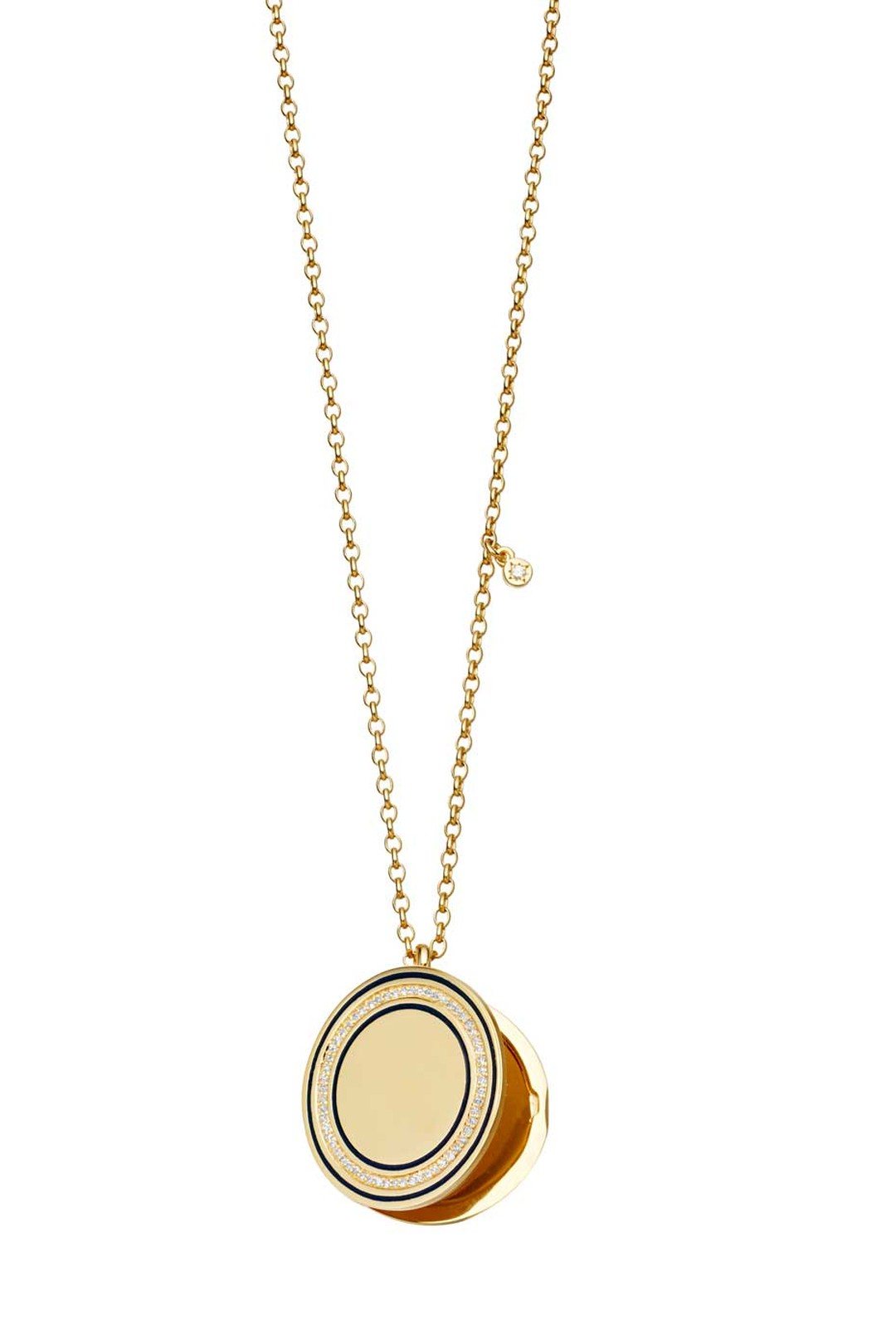 Designed by Astley Clarke's creative director Lorna Watson, the Giant Midnight Cosmos locket in yellow gold with diamonds features a dark blue enamel circle.