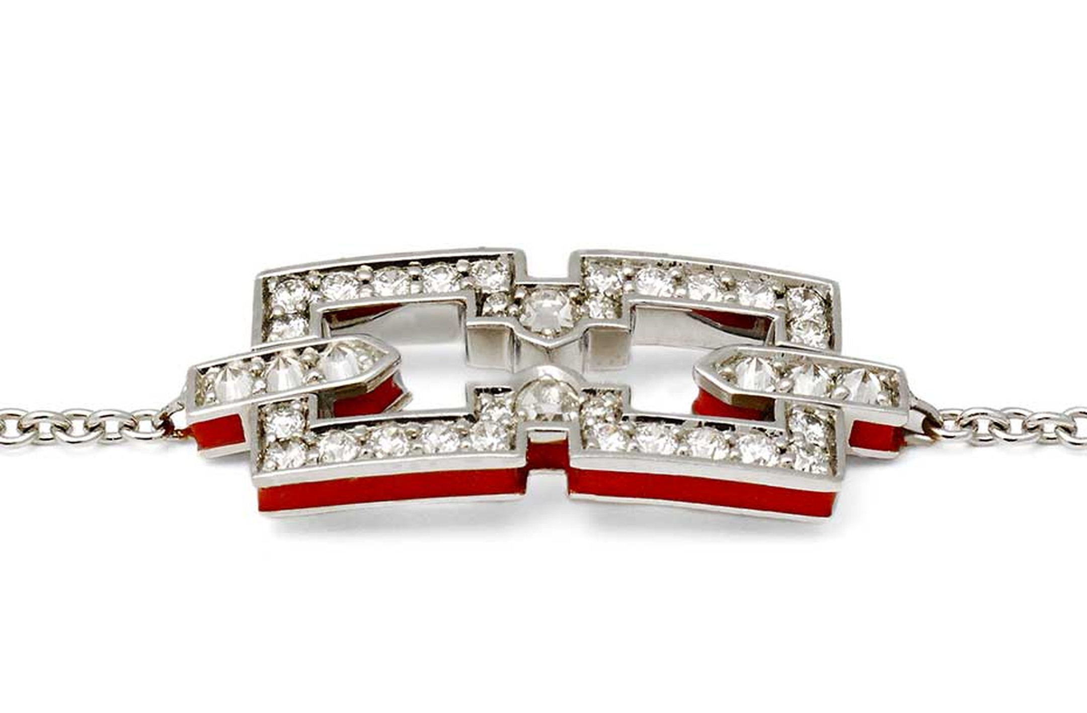 Raphaele Canot Skinny Deco collection white gold Icon bracelet featuring pavé white diamonds and red coral enamel.