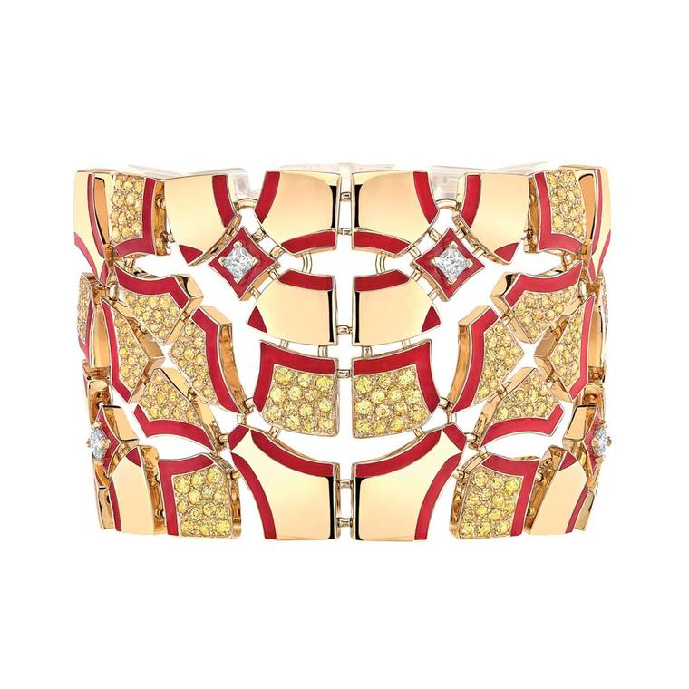 Chanel gold Sunrise cuff featuring enamelling and white and yellow diamonds, from the Café Society collection.