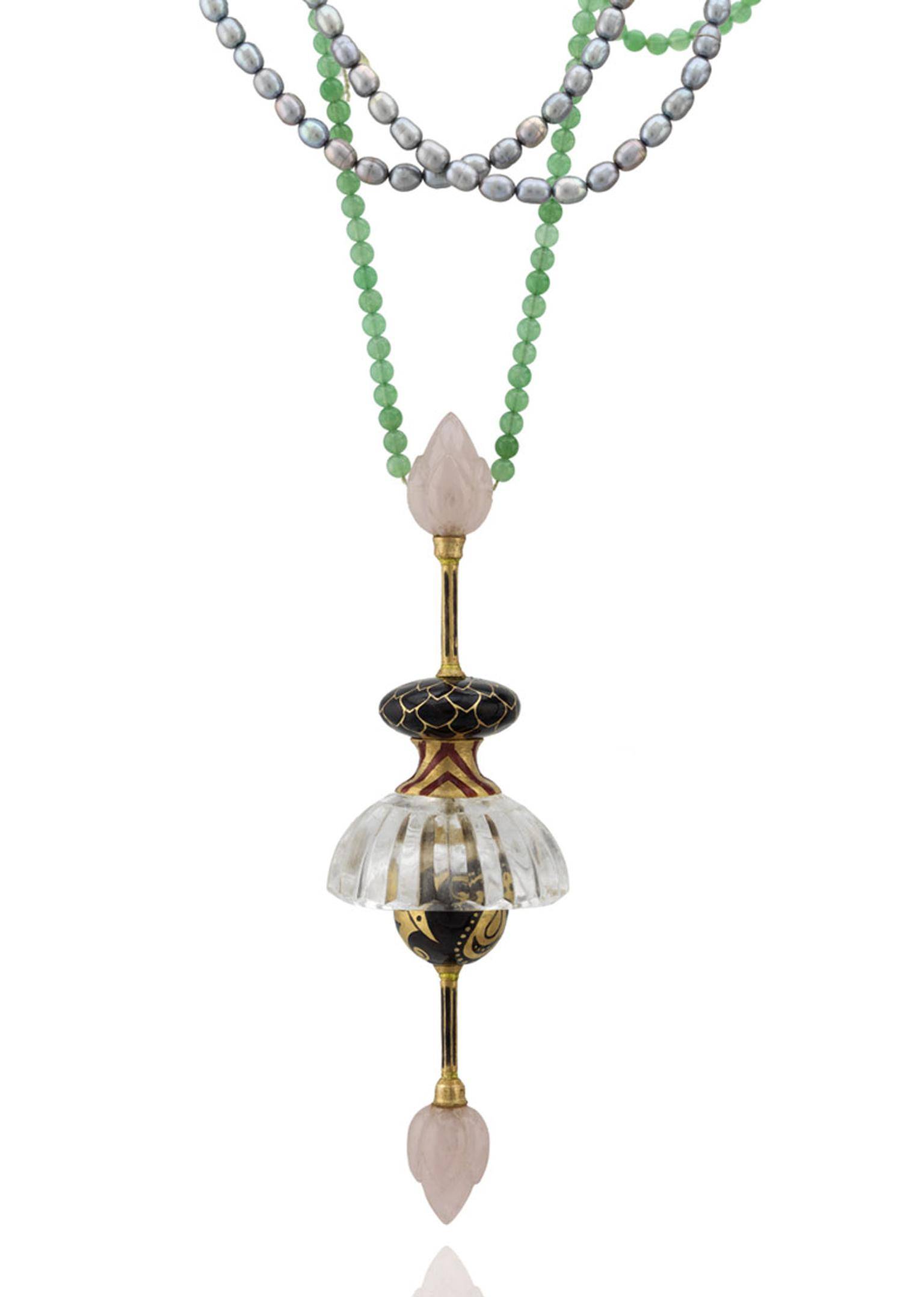 Alice Cicolini Jodhpur Shinkara Pendant made with vitreous enamel, hand-carved Brazilian rose quartz and crystal, freshwater pearls, sapphire, fine Australian chrysoprase and gold beads.