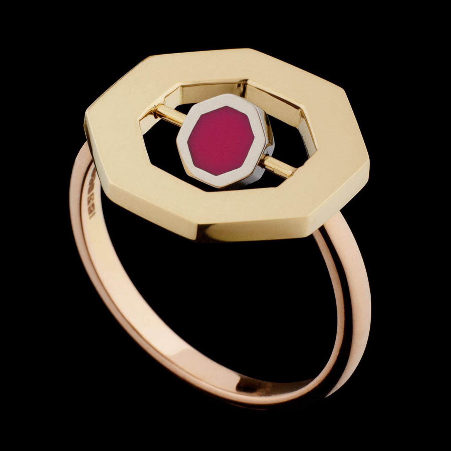 Hattie Rickards Flip Octo Ring with a revolving central octagon in enamel set in Fairtrade Fairmined ecological gold.