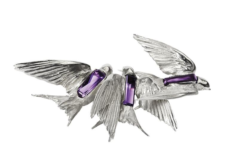 Jordan Askill silver and Zambian amethyst Swallows brooch, created in collaboration with Gemfields in 2013.