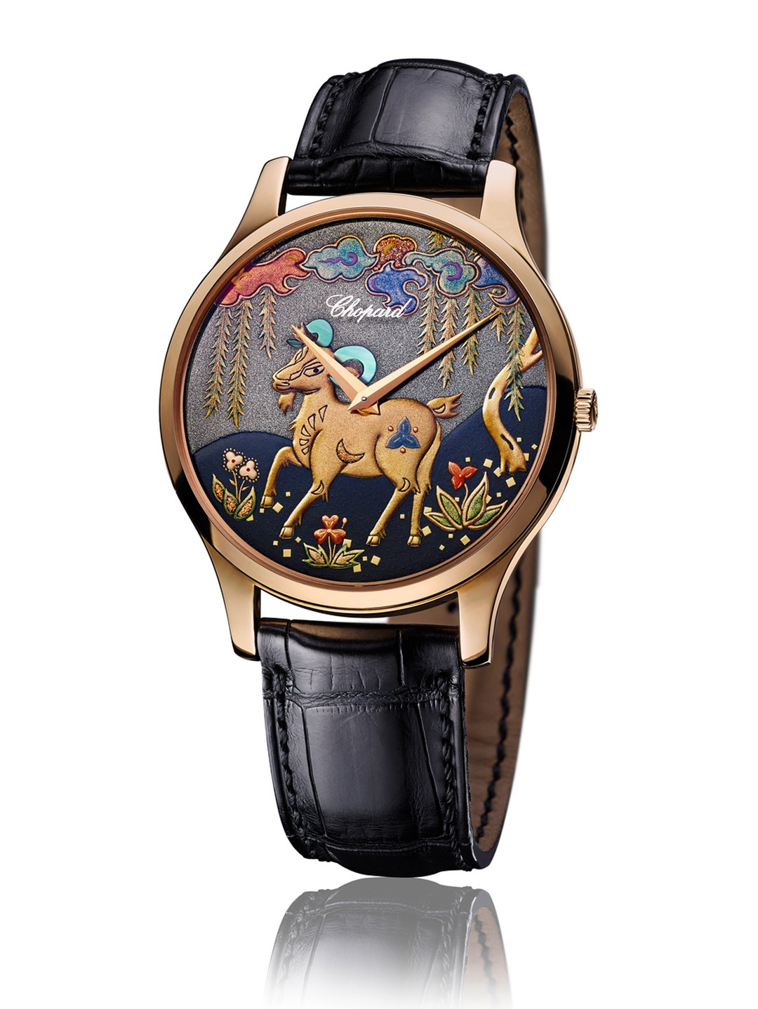 Chopard pays homage to the Chinese Year of the Goat resorting to the ancestral technique of Japanese lacquer work known as Urushi on the dial of this watch.