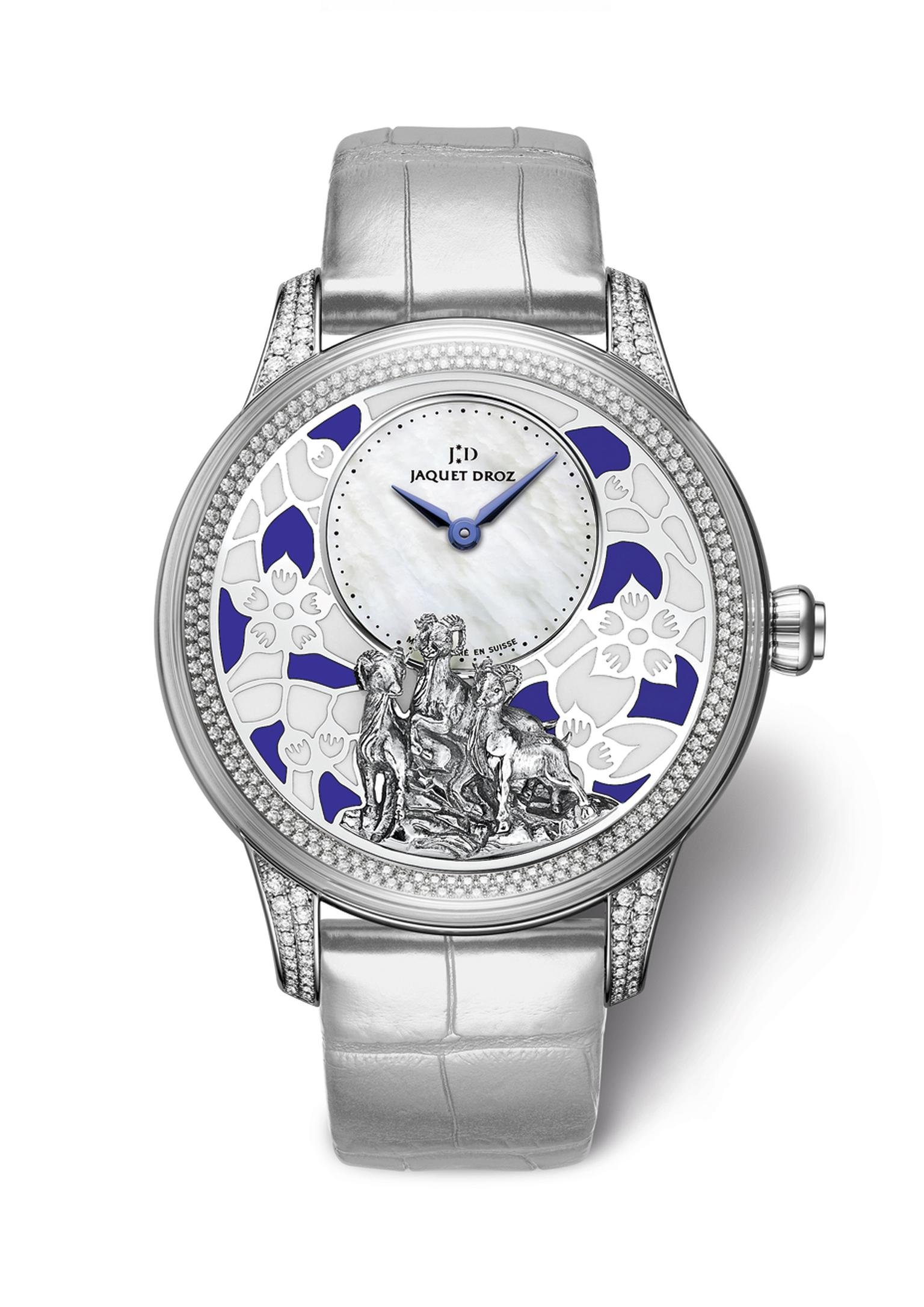 The white gold 41 mm Jaquet Droz Petite Heure Model has been chosen as the vessel for this work of art, which includes a beautiful plum blossom background created with champlevé enamelling set against a white mother-of-pearl dial.