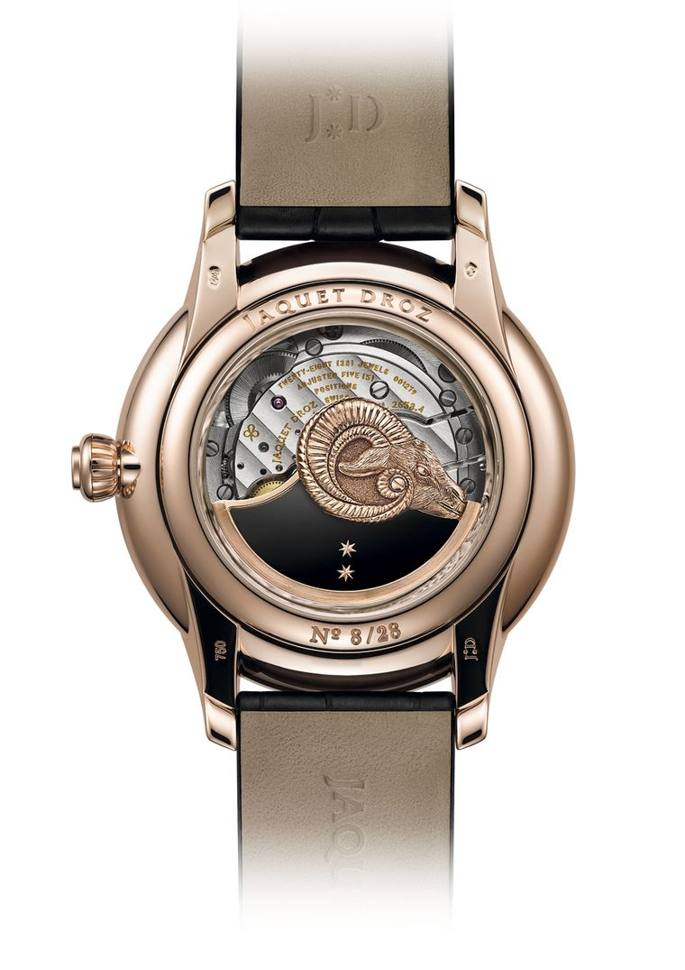 The self-winding mechanical movement of the Jaquet Droz watch, exposed on the caseback, reveals yet another tribute to the Year of the Goat with the head of a ram mounted on the rotor.