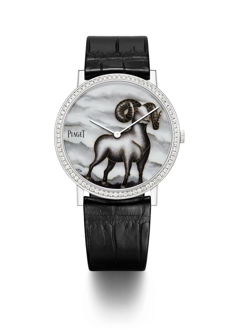 Piaget celebrates the Year of the Goat with this handsome ultra-thin 38mm white gold Altiplano watch decorated by hand by one of Switzerland's leading enamel artists, Anita Porchet. Limited edition of 38 pieces.