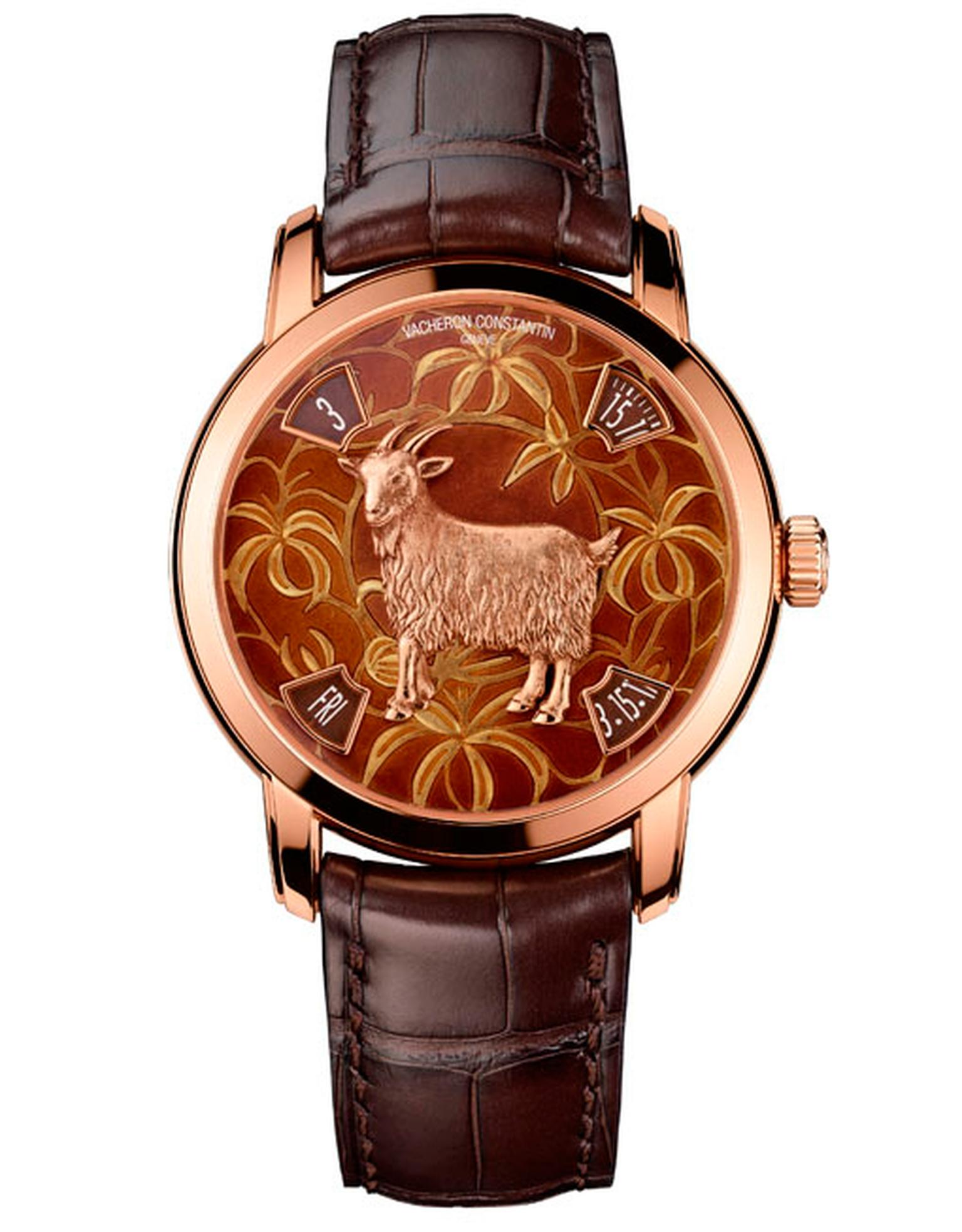 Vacheron Constantin red gold model depicts a goat with his long fleece lovingly etched in the metal surrounded by an Asian leaf motif, which is embellished with grand feu enamelling. Both models are limited to 12 pieces each.