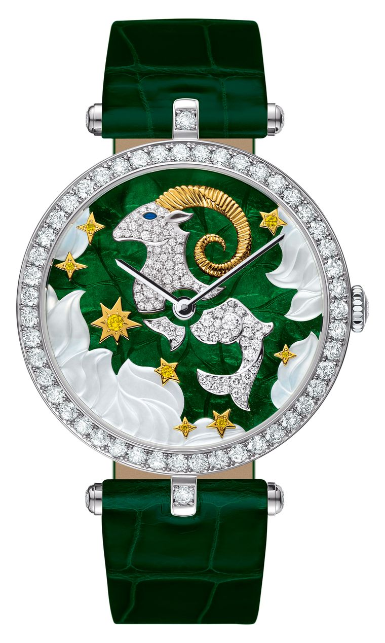 Van Cleef & Arpels high jewellery Lady Arpels Zodiac Capricorn watch in a white gold case. The beautiful green enamel dial is enlivened with touches of mother-of-pearl and white and yellow diamonds bringing the headstrong ram to life. Limited edition of 2