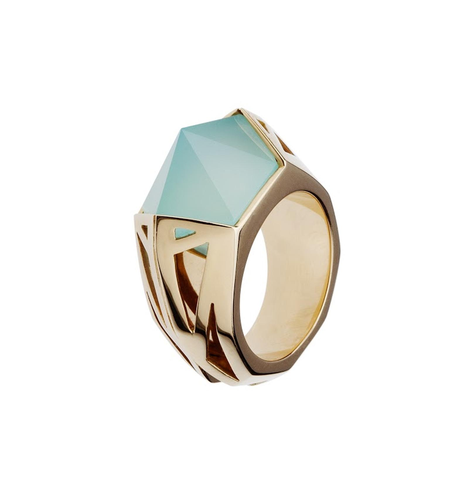 Mimata pink gold and chalcedony ring, from the Moon collection.