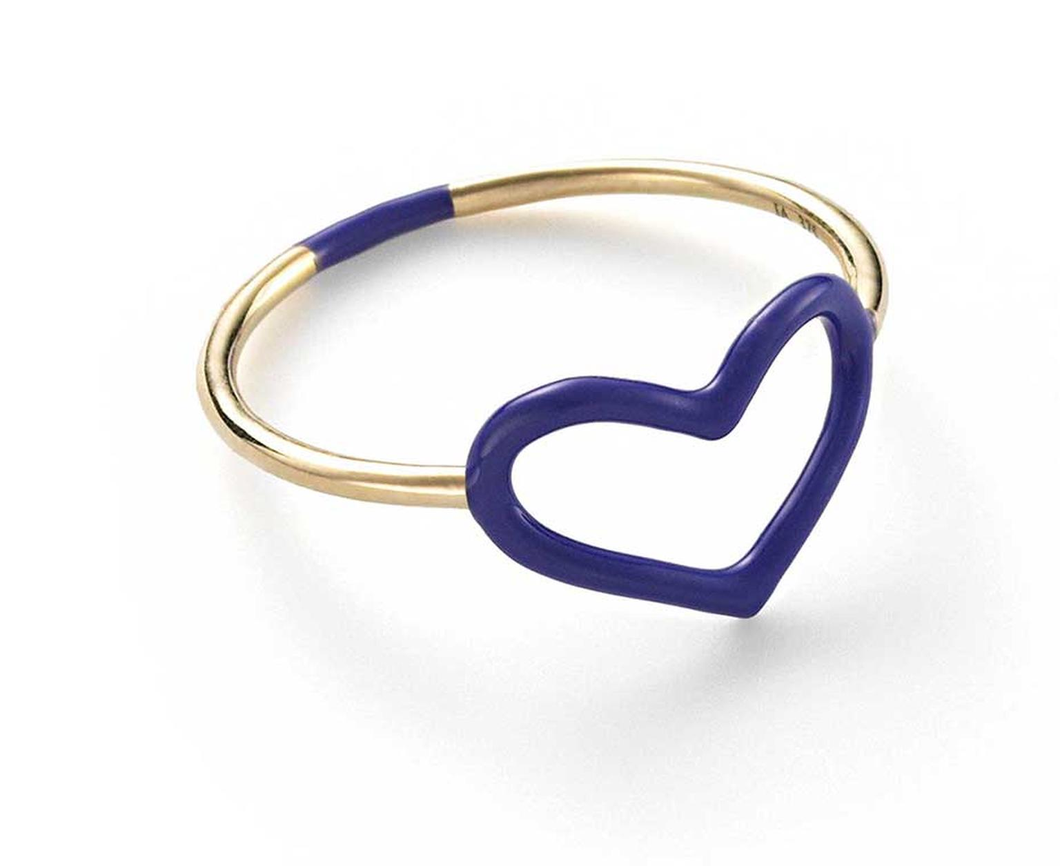 Jordan Askill Heart ring in gold with sapphire blue enamel.