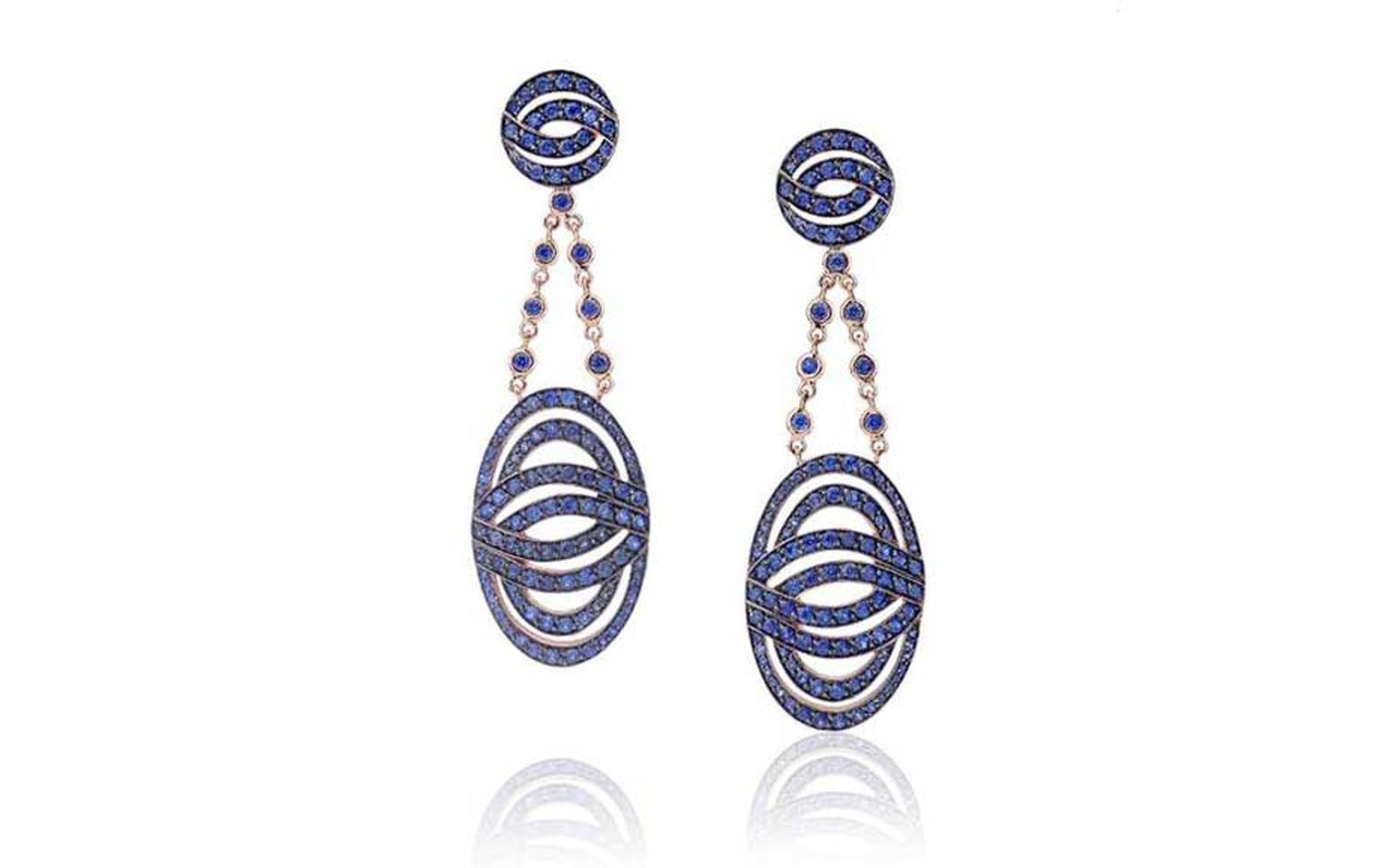 Lily Gabriela earrings in white gold, pavéd with blue sapphires, from the Collection IV.