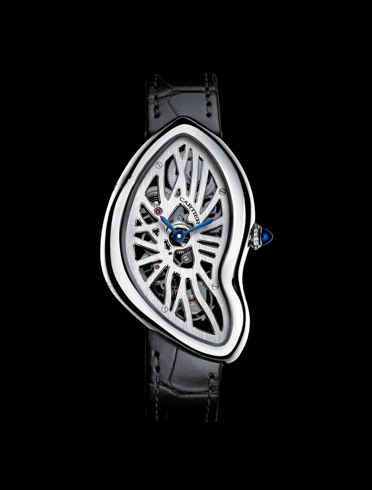 "The asymmetrical platinum case of Cartier's Crash watch posed a serious challenge to watchmakers who had to ""crash"" the movement and design it to fit inside the contours of the case."
