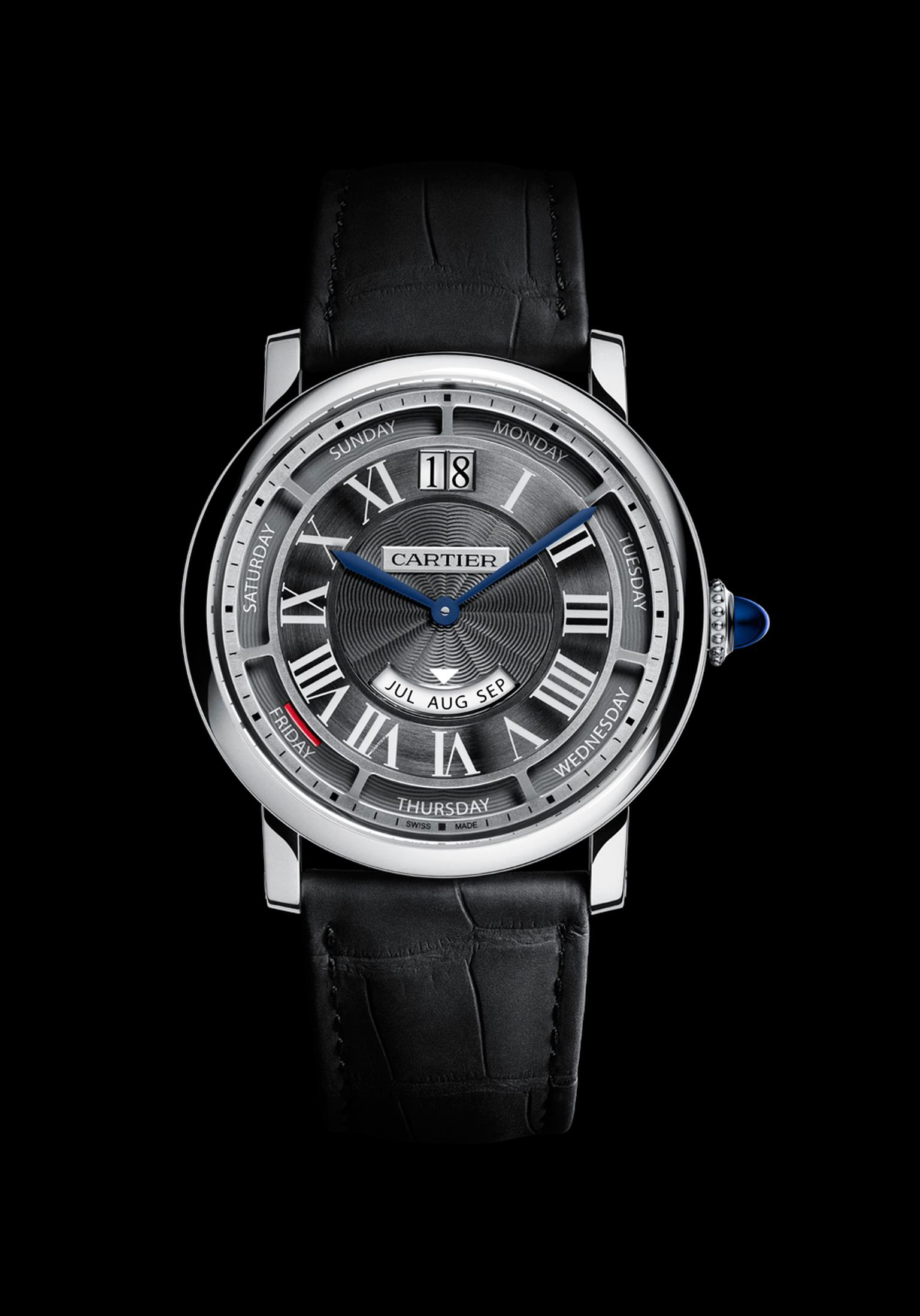 The Rotonde de Cartier Annual Calendar will be presented in a 40mm pink gold case with a white dial or in a white gold case with a more contemporary grey dial.