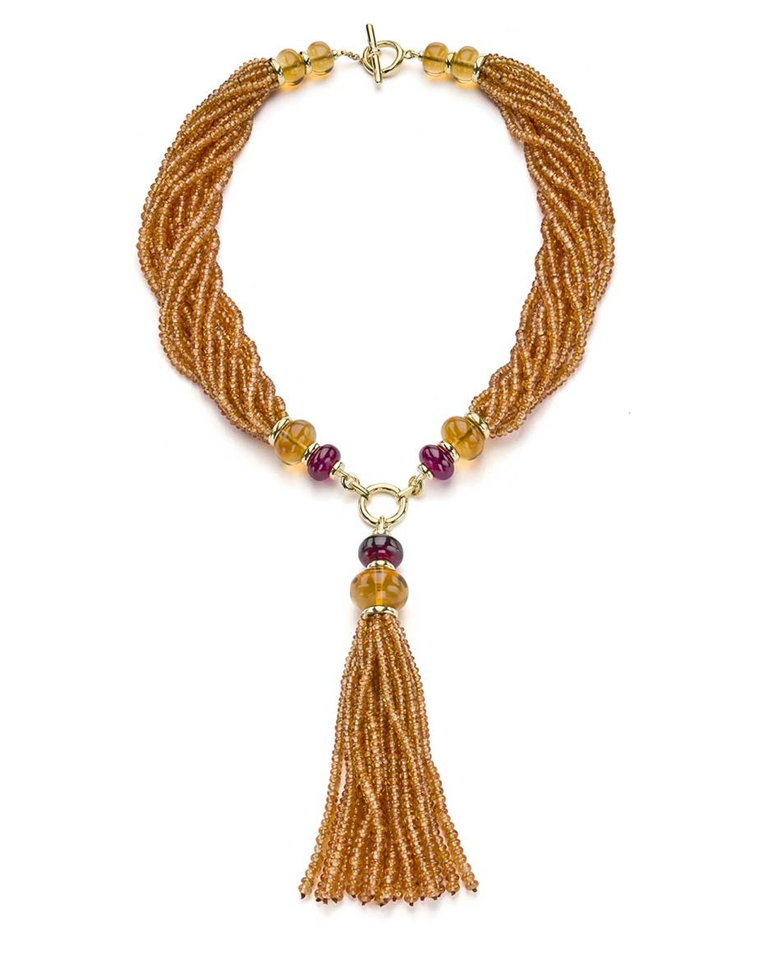 Goshwara tassel necklace set with 505.40ct mandarin garnet beads, accented by rubellite and citrine beads.