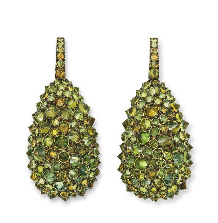 Hemmerle earrings in copper and white gold, reverse set with demantoid garnets.