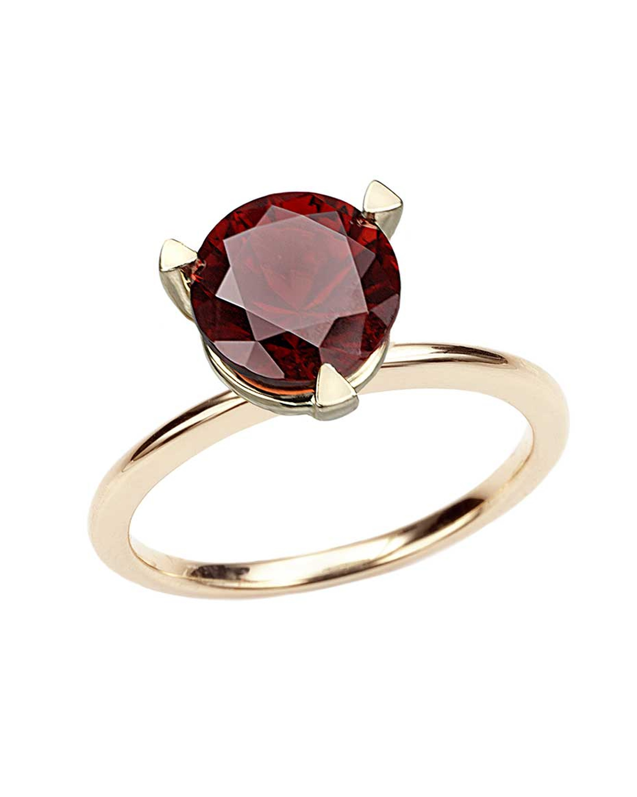 Octium Pop ring in yellow gold, set with a round pyrope garnet.