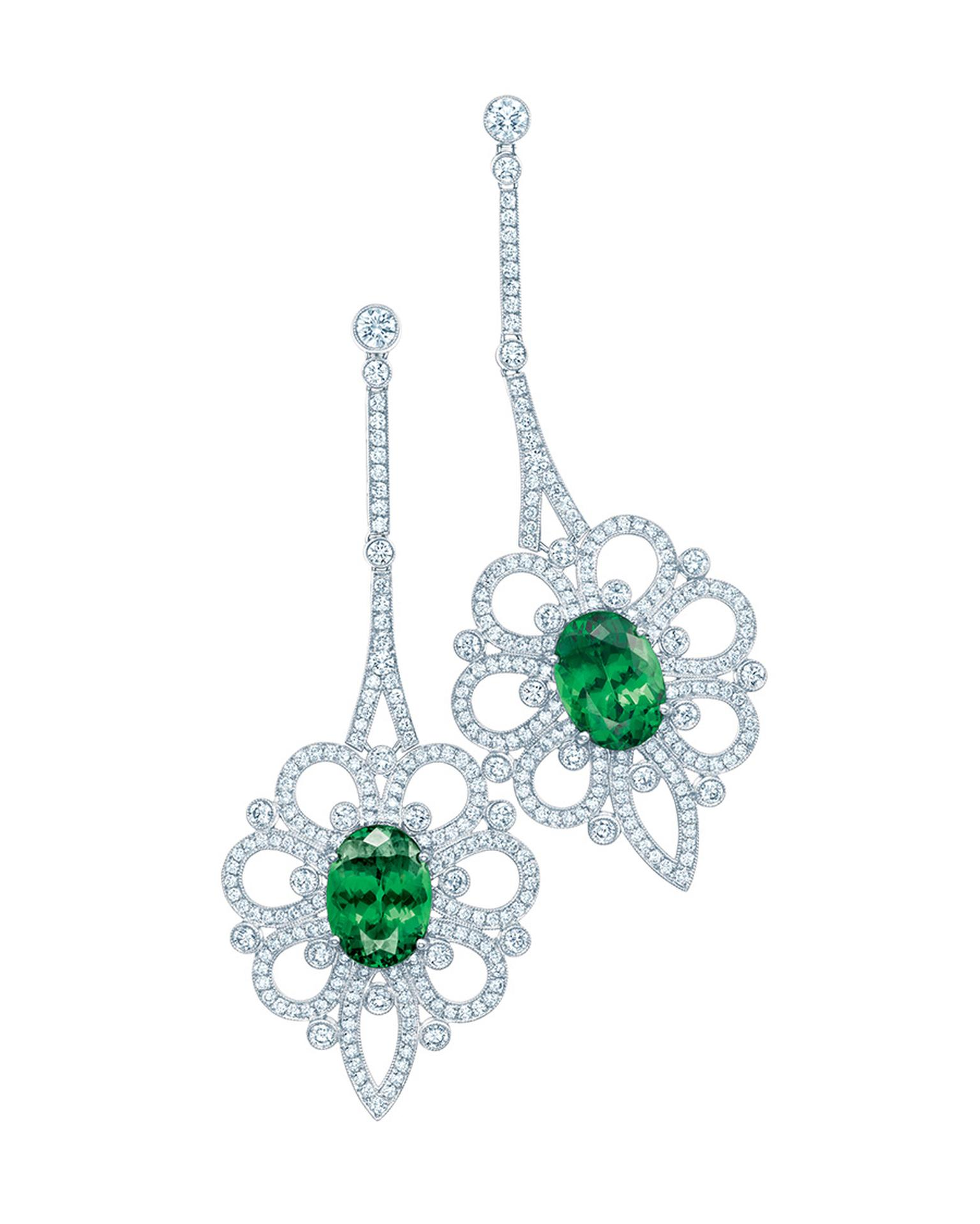 Tiffany tsavorite and diamond earrings in platinum, from the Legacy collection.