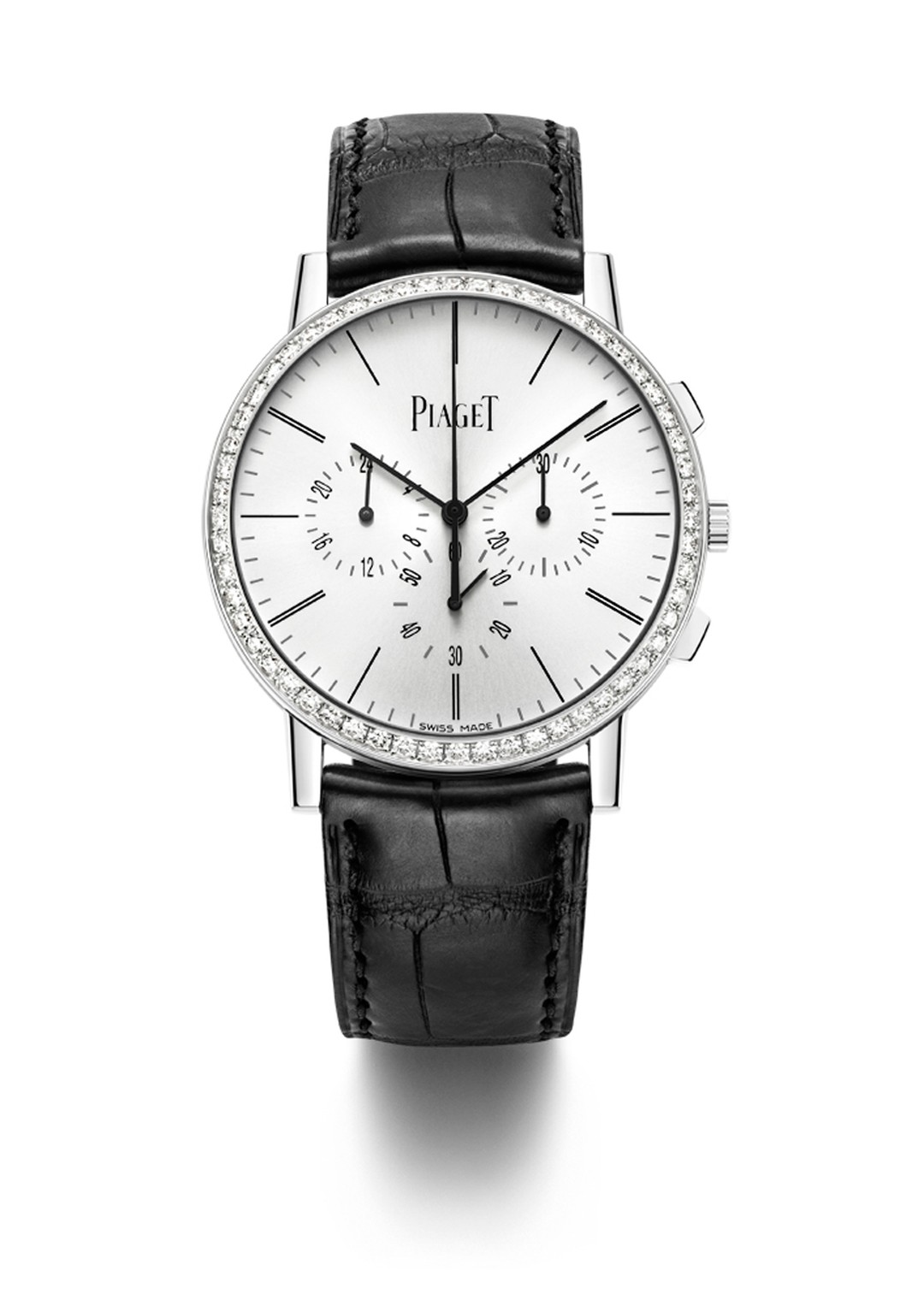 The Piaget Altiplano Chronograph will also be available in a white gold model set with 56 brilliant-cut diamonds on the bezel.