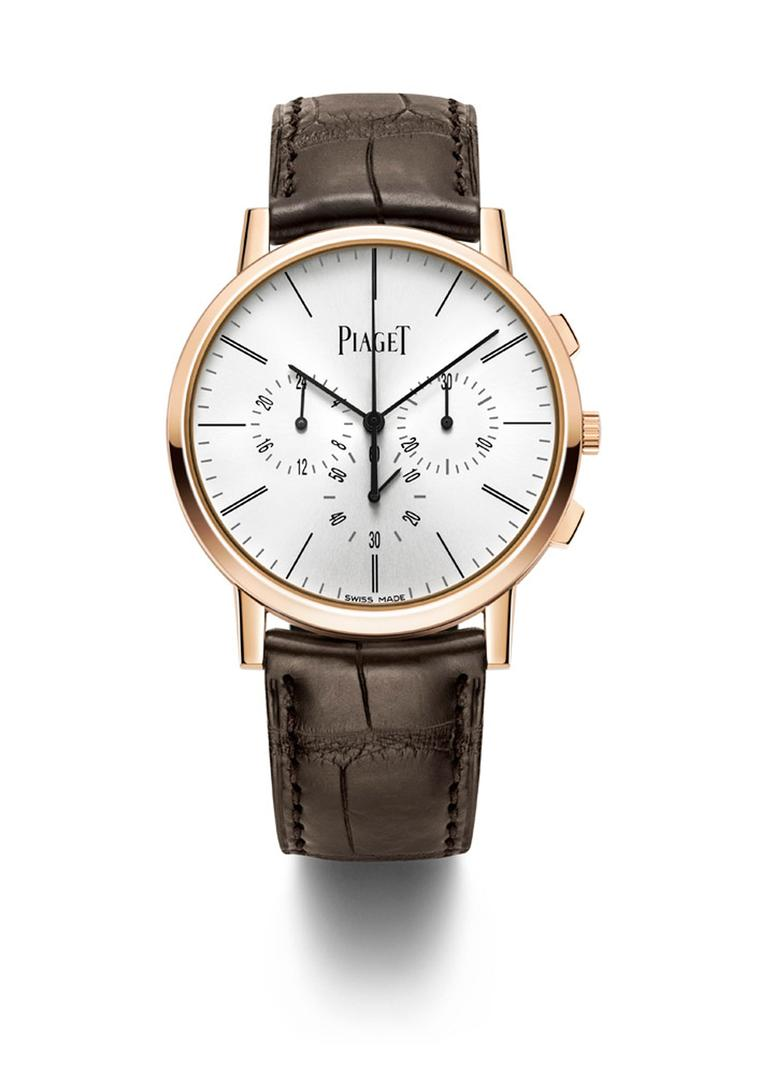 Piaget Altiplano Chronograph is the world's thinnest hand-wound flyback chronograph. With its 4.65mm movement and its 8.24mm case, this newcomer to the Altiplano range confirms Piaget's leadership in the ultra-thin category.