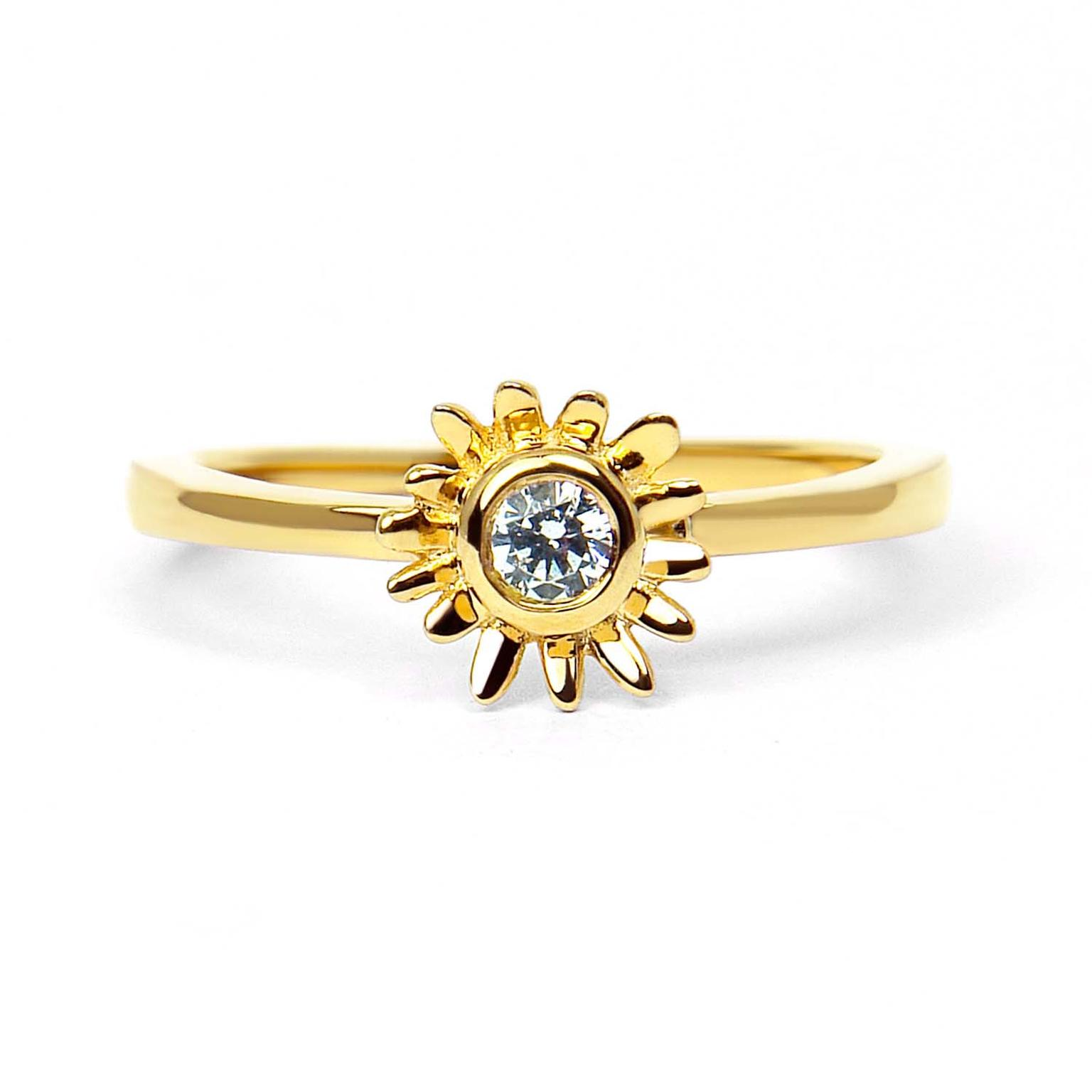 Arabel Lebrusan Bellis ethical diamond engagement ring, made from Fairtrade gold (£1,025).