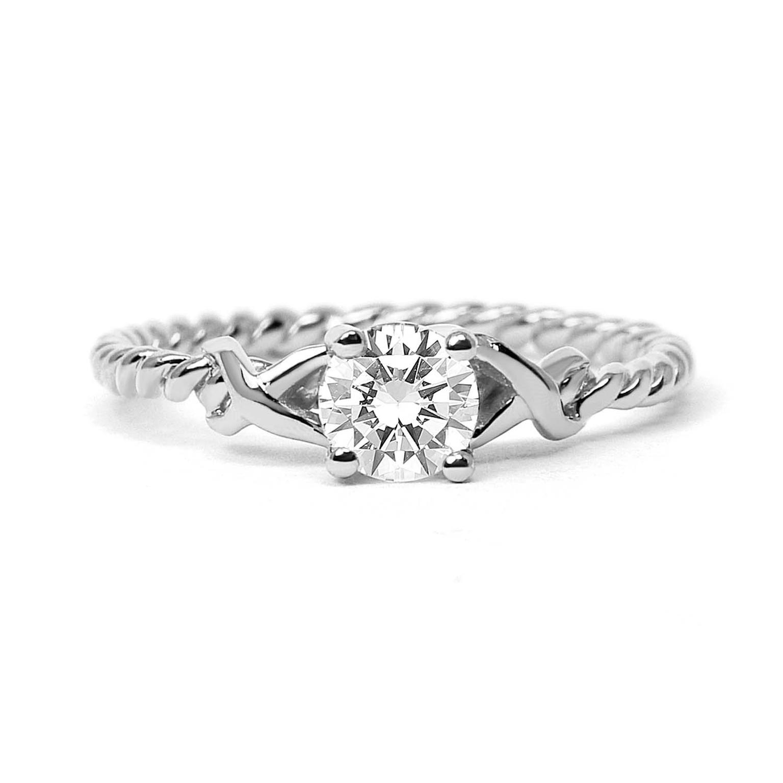 Arabel Lebrusan Braided ethical diamond engagement ring, made from recycled platinum (from £2,170).