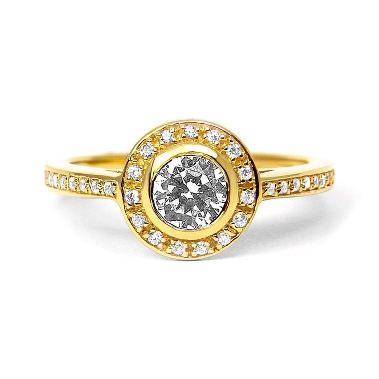Arabel Lebrusan Efflorescence ethical diamond engagement ring, made from Fairtrade yellow gold (from £3,695). From the new Cosmos collection.