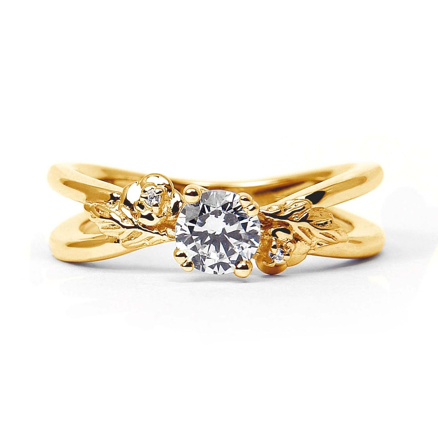 Arabel Lebrusan Foliage ethical diamond engagement ring featuring a Fairtrade yellow gold split band (from £2,340). From the Secret Garden collection.