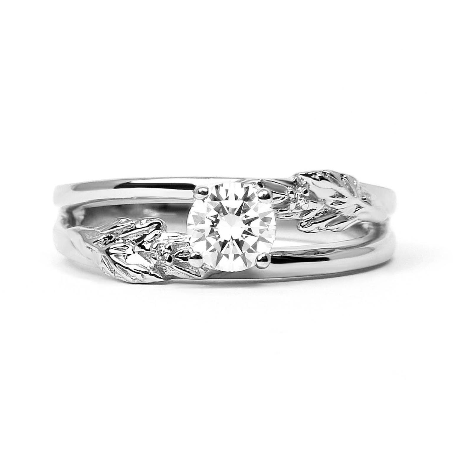 Arabel Lebrusan Royal Oak ethical diamond engagement ring, made from recycled platinum (from £2,800). From the Secret Garden collection.