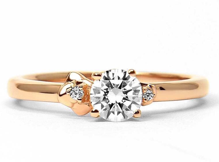 Arabel Lebrusan Cherry Blossom ethical diamond engagement ring in Fairtrade rose gold (from £2,145). From the Secret Garden collection.