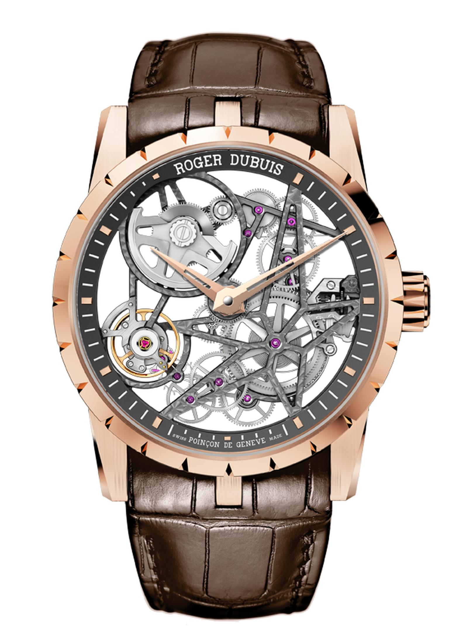 Roger Dubuis Excalibur Automatic Skeleton is a showcase for the brand's prestigious finishes. Housed in a 42mm rose gold case, all faces of the 167 parts which make up the new calibre have been individually finished.