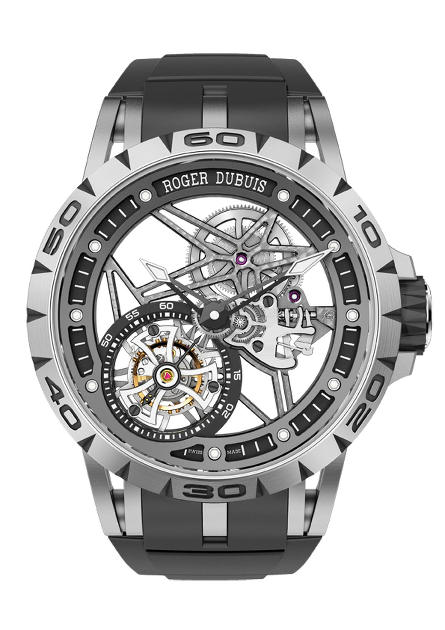 Roger Dubuis Excalibur Spider Skeleton Flying Tourbillon takes skeleton watches one step beyond the movement and extends its spidery web to just about everything skeletonisable on the watch: the case, the flange, the hands and the lugs.