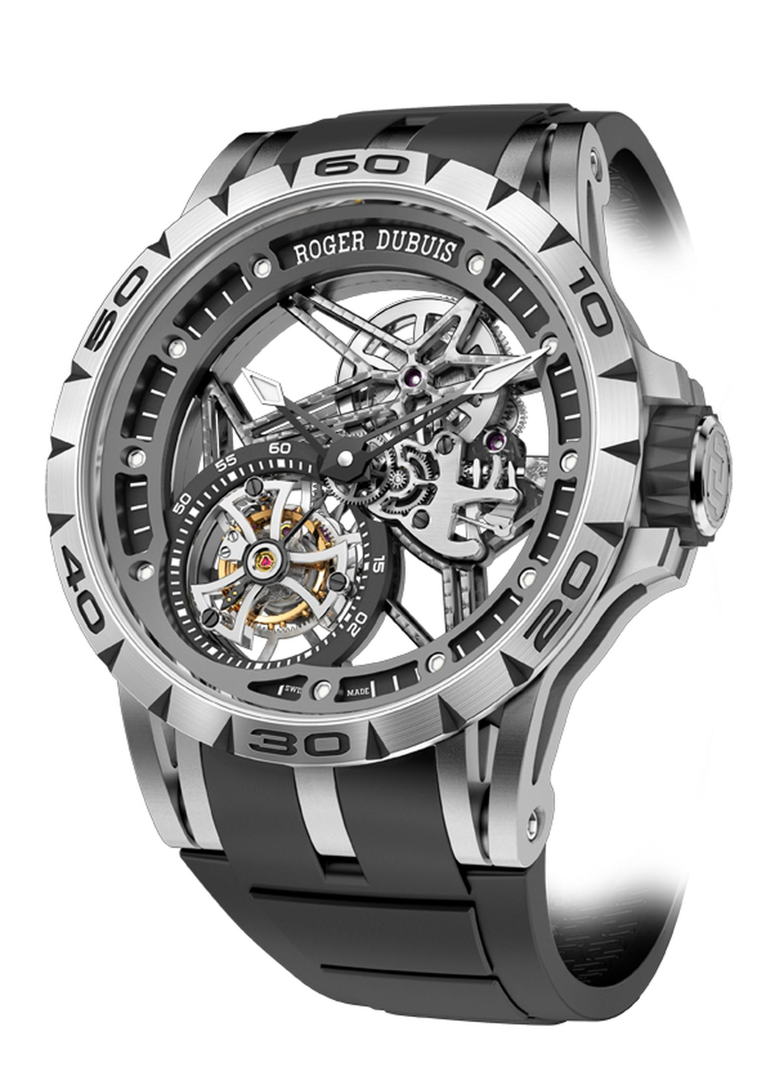 Roger Dubuis Excalibur Spider Skeleton Flying Tourbillon is housed in a large 45mm titanium case, chosen because of its lightweight properties, and features a hand-wound movement to keep the flying tourbillon spinning and the hours, minutes and seconds ti