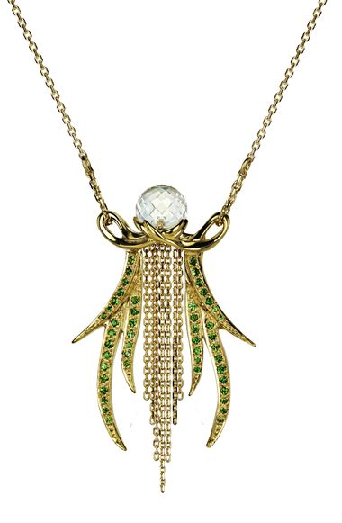 Ana de Costa necklace in yellow gold from the Alchemy collection, topped with white rock crstyal and pavé set with tsavorites.