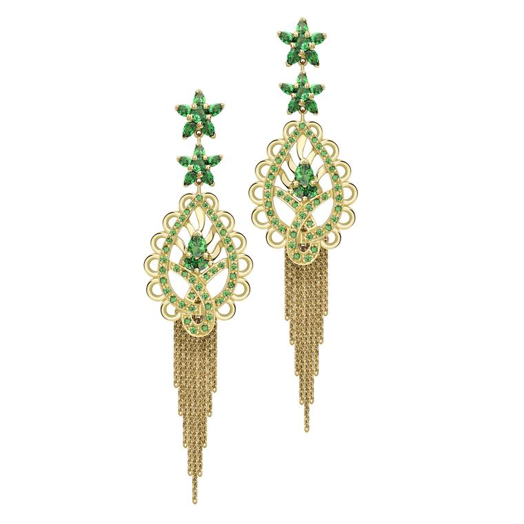 Ana de Costa earrings from the Spiritual Henna collection in yellow gold with tsavorites.